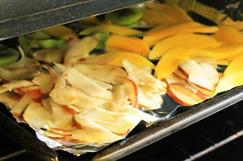 fruit prepared for dehydrating in a toaster oven
